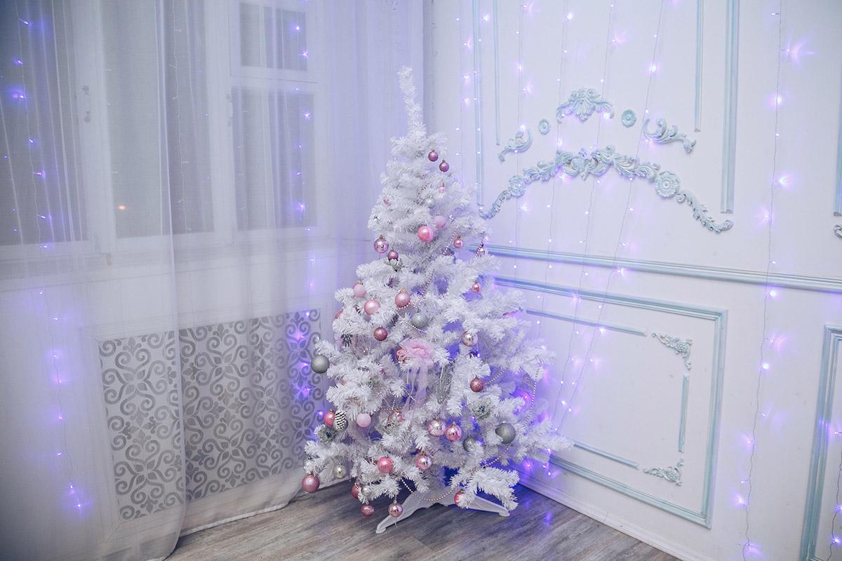 Lampki świąteczne zawieszone w oknie