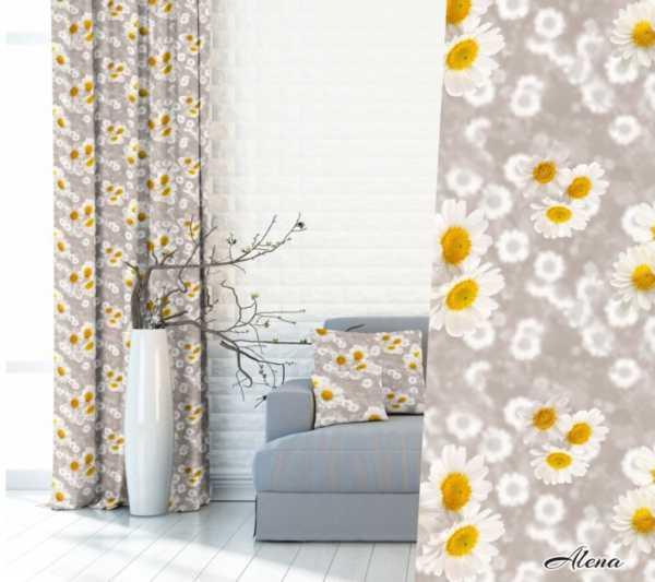 Zasłony 3D w kwiaty margeretki