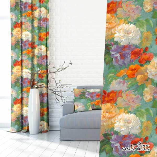 Zasłona malowana - kwiaty